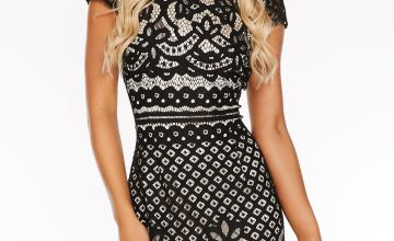 Quiz Contrast Lining Lace High Neck Cap Sleeve Dress