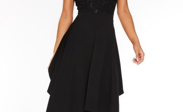 Quiz Sequin Lace Hanky Hem Dress