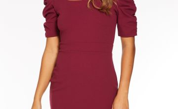 Quiz Ruched Sleeve Square Neck Midi Dress