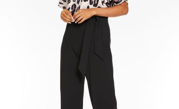 Quiz Animal Print Batwing Belted Palazzo Jumpsuit
