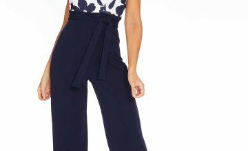 Quiz Navy Scuba Crepe Floral Bardot Tie Belt Jumpsuit