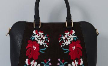 Embroidered Curved Box Handbag