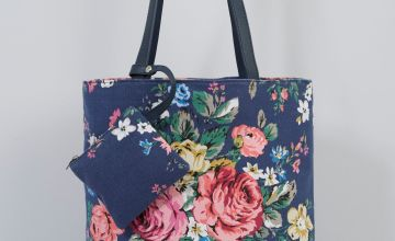 Navy Floral Canvas Tote Bag with Matching Purse