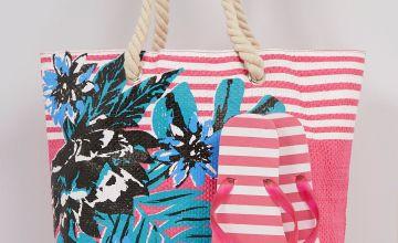 Tropical Stripe Pink Beach Bag + Flip Flop Set