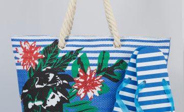 Tropical Stripe Blue Beach Bag + Flip Flop Set