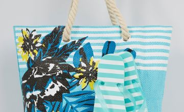 Tropical Stripe Mint Beach Bag + Flip Flop Set