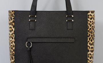 Contrast Leopard Print Panel Shopper Bag