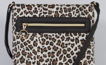 Leopard Print Canvas Cross Body Bag