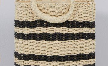 Straw Cream and Black Stripe Bag
