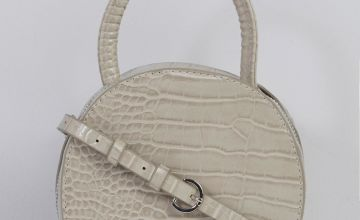 Circle Grey Crocodile Print Bag