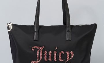 Juicy Couture Janis Black Glitter Tote Bag