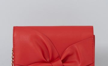 Red Bow Cross Body Bag with Chain Strap