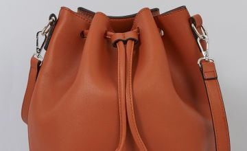 Tan Cross Body Bucket Bag