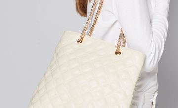 White Quilted Chain Strap Shopper Bag