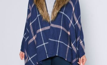 Removable Faux Fur Check Wrap