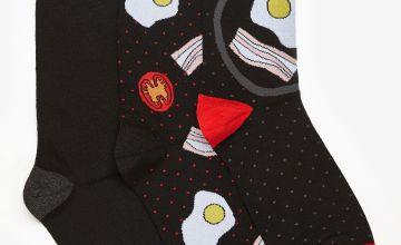 Sock Shop 3 Pack Fry Up Novelty Socks