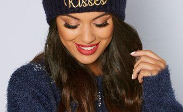Mistletoe Kisses Christmas Pom Pom Hat