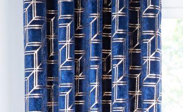 Metallic Cubes Velvet Eyelet Curtains