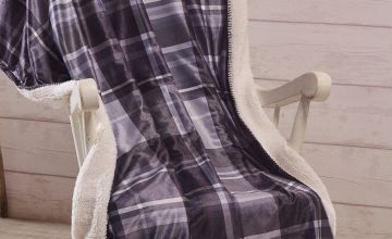 Arron Check Brushed Cotton Flannelette Sherpa Throw
