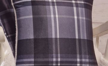 Arron Check Brushed Cotton Flannelette Cushion Cover with Sherpa Back