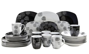 32-Piece Trees Mix and Match Square Dinner Set