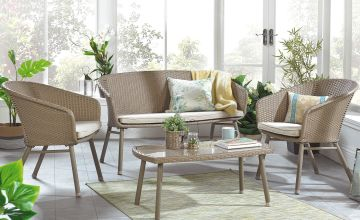 4-Piece Rattan Effect Sofa Set