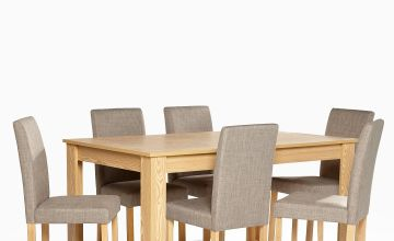 Kingston 7-Piece Grey Dining Set with Fabric Chairs