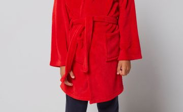 Embroidered Personalised Red Supersoft Robe