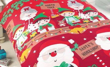 Personalised Santas Workshop Double Duvet Set