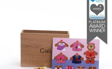 Personalised Wooden Pink Teddy Puzzles