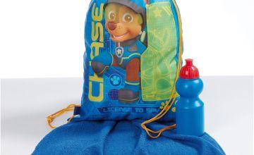 Personalised Blue Paw Patrol Pump Bag, Towel and Water Bottle Set