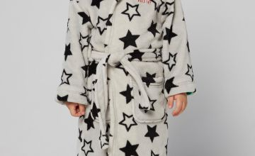 Embroidered Personalised Grey Star Supersoft Robe
