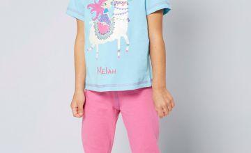 Girls Personalised Short Sleeve Hippy Princess and Llama Pyjamas