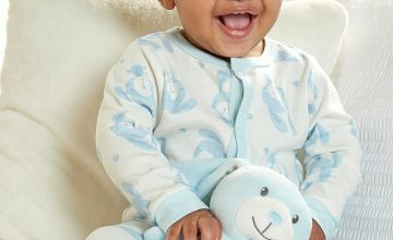 Blue Baby Sleepsuit with Personalised Bunny