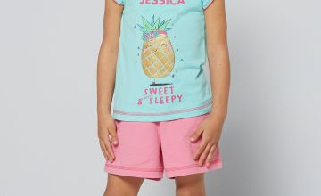 Personalised Sweet Pineapple Younger Girls Shortie Pyjamas