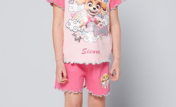 Young Girls Personalised Paw Patrol Be Happy Skye Shortie Pyjamas