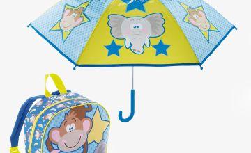 Personalised Jungle Backpack and Umbrella Set