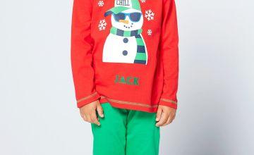 Boys Personalised Snowman Pyjamas