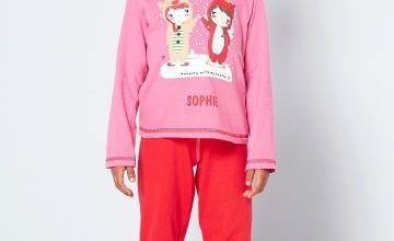 Girls Personalised Reindeer and Unicorn Pyjamas