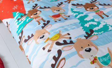 Reindeers In The Snow Personalised Duvet Set - Single
