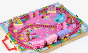 Personalised My First Wooden Pink Train Set with Case