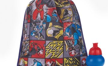 Personalised Power Rangers Pump Bag and Bottle