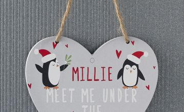 Personalised Penguin Hanging Heart Sign