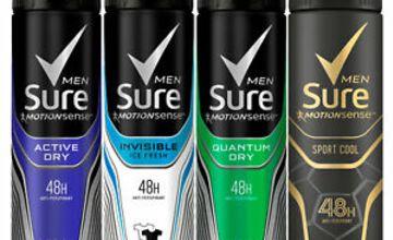 Sure Men Anti-Perspirant 48 Hour Protection Deodorant Spray, 6 Pack, 150ml
