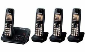 PANASONIC KX-TG6624EB Cordless Phone with Answering Machine Quad Handsets Currys