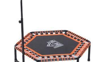"HOMCOM 48"" Mini Trampoline Hexagon Bungee Rebounder w/ Adjustable Handle"