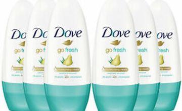 Dove Go Fresh Anti-Perspirant Cream Roll-On, Pear & Aloe Vera, 6 Pack, 50ml