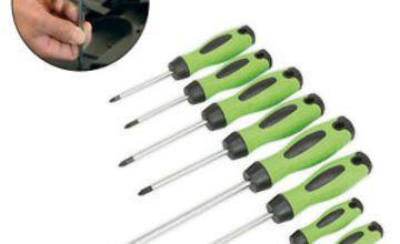 Sealey HV001 Screwdriver Hi Vis Hi-Visibility Green 8Pc With magnetized Tips Set