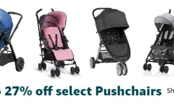 Up to 27% off on a range Pushchairs from Silver Cross & more