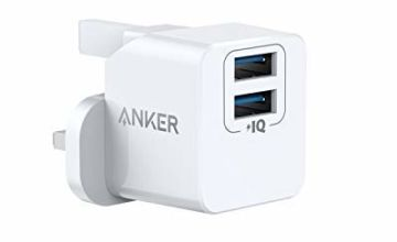 Anker PowerPort Mini Dual Port Wall Charger, Super Compact USB Charger, 2.4A Output for iPhone Xs/XS Max/XR/X/8/7/6/Plus, iPad Pro/Air 2/Mini 4, Samsung, and More